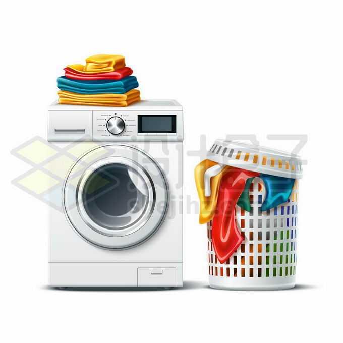 一台滚筒洗衣机和上面堆放的洗干净的衣服以及旁边垃圾桶中脏衣服8024931矢量图片免抠素材免费下载