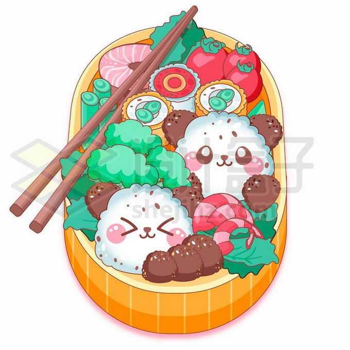 饭盒中的美味美食卡通日餐饭团健康食物9330582矢量图片免抠素材免费下载