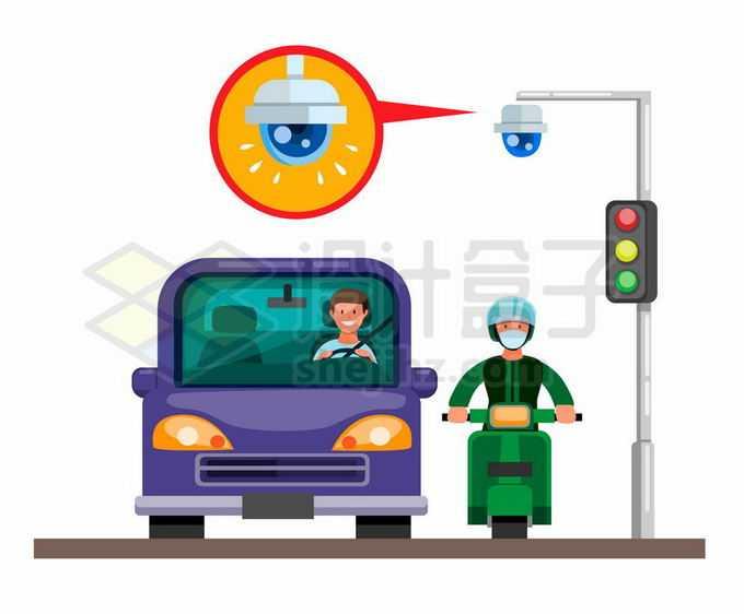 正在等待红绿灯的汽车和行人以及上空的交通监控摄像头7566253矢量图片免抠素材免费下载