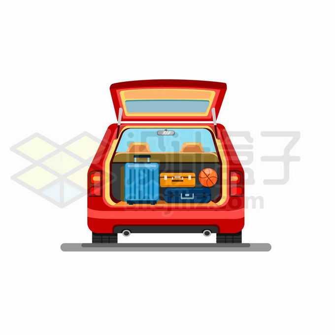 打开的汽车后备箱中行李箱自驾游旅游7802233矢量图片免抠素材免费下载
