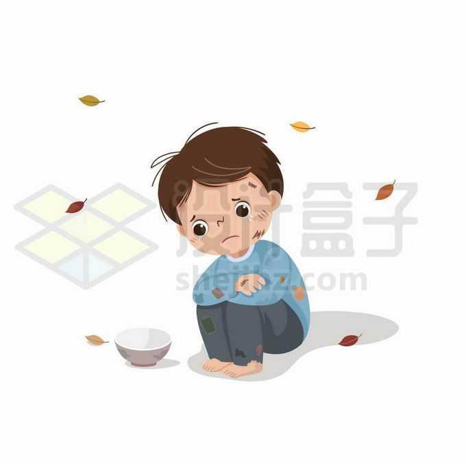 可怜的卡通小乞丐蹲在地上乞讨面前有一个破碗7459613矢量图片免抠素材免费下载