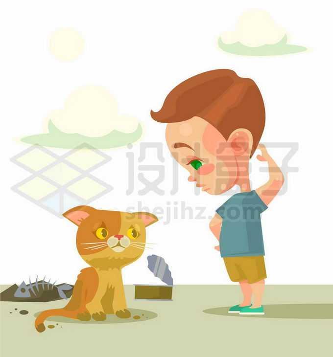 卡通小男孩和可怜的流浪猫8063674矢量图片免抠素材免费下载