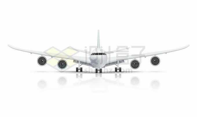 一架白色的大型客机飞机正面图和倒影8253226矢量图片免抠素材免费下载