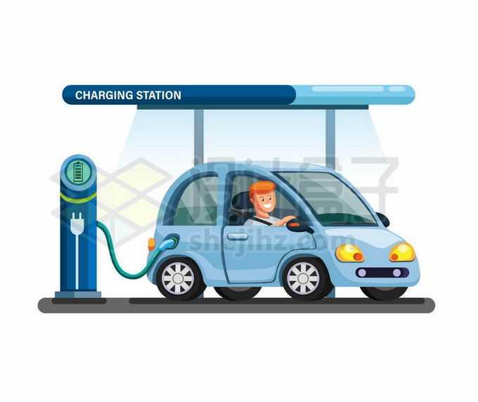 卡通电动汽车正在充电桩上充电5523363矢量图片免抠素材免费下载