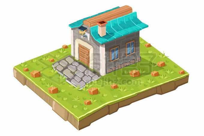 2.5D风格绿色草坪草地上的卡通房子游戏道具5665611矢量图片免抠素材免费下载