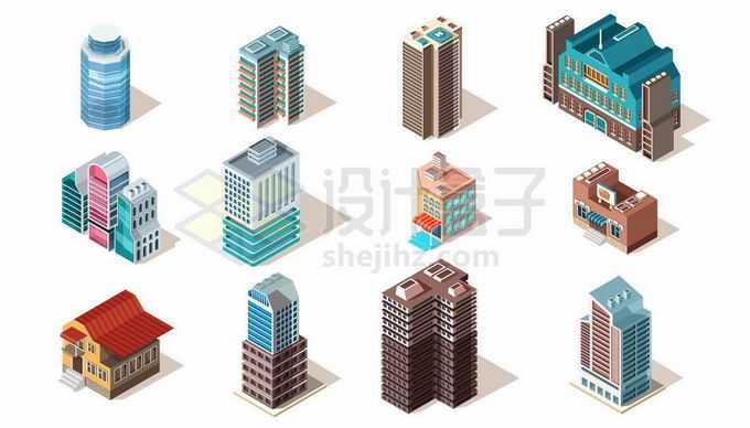 12款2.5D风格城市高楼大厦小区居民楼写字楼2473760矢量图片免抠素材免费下载