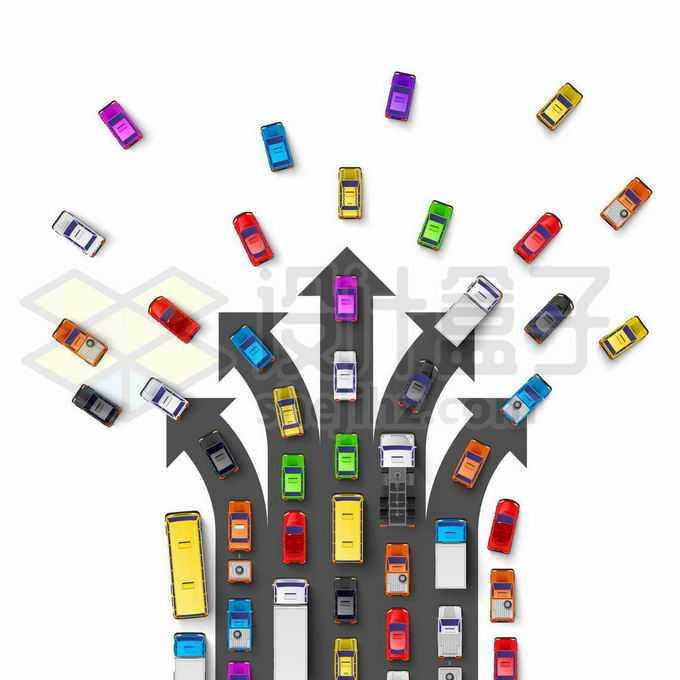 繁忙的交通俯视视角的汽车行驶向不同的方向4771339矢量图片免抠素材免费下载