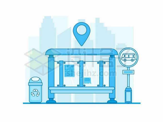 MBE风格蓝色公交站台和候车亭以及旁边的垃圾桶2887756矢量图片免抠素材免费下载