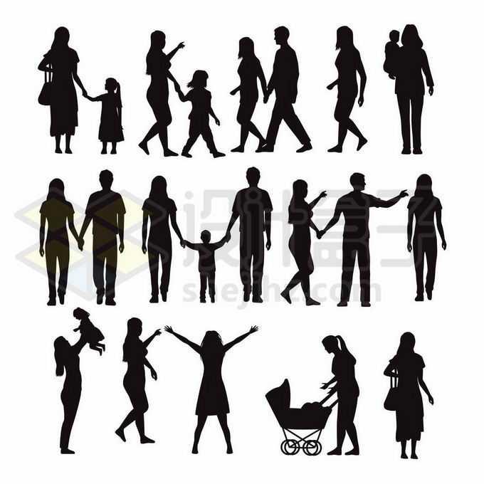 各种手牵手的一家人抱着孩子的爸爸妈妈人物剪影1668603矢量图片免抠素材免费下载