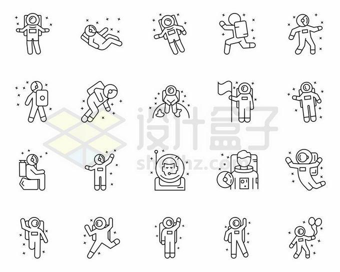 20款卡通中国宇航员宇宙探测线条图标4726518矢量图片免抠素材免费下载