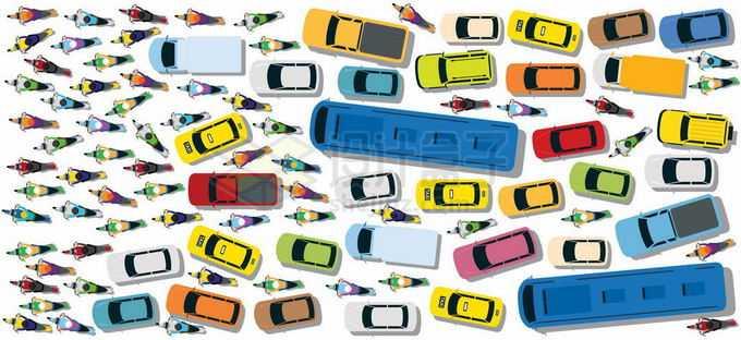 俯视视角混乱的交通摩托车汽车公交车导致道路拥堵大堵车8218023矢量图片免抠素材免费下载