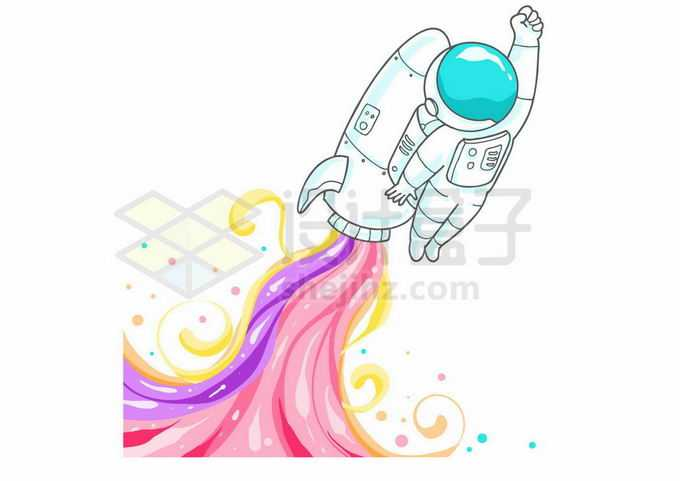 卡通宇航员背着火箭喷出彩虹火焰宇宙探索6204356矢量图片免抠素材免费下载