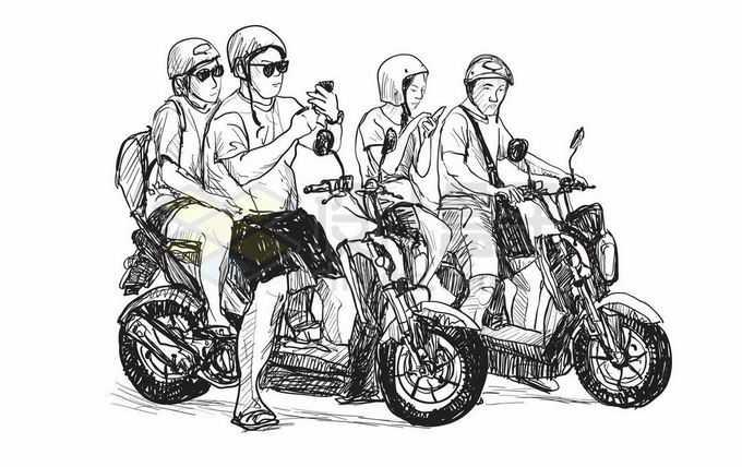 铅笔手绘速写风格骑摩托车的年轻人插画7934831矢量图片免抠素材免费下载
