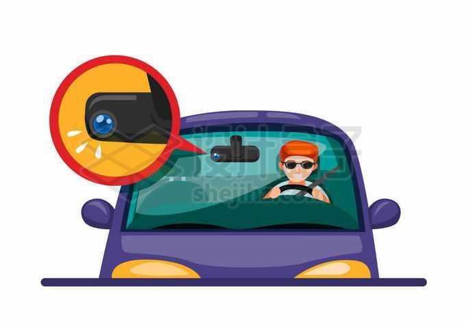 卡通汽车和上面的行车记录仪交通安全7850622矢量图片免抠素材免费下载