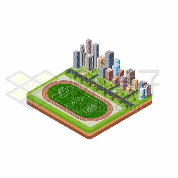 2.5D风格城市高楼大厦街区和学校足球场运动场7170383矢量图片免抠素材免费下载
