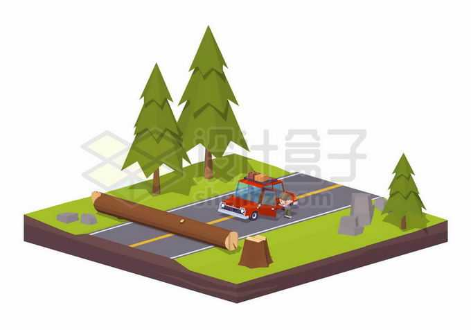 2.5D风格倒掉的树木阻挡道路交通2886544矢量图片免抠素材免费下载
