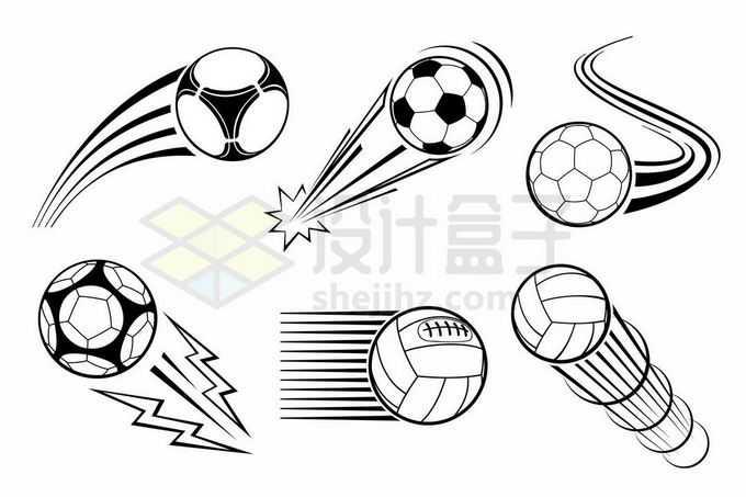 6款线条足球动感漫画插画9001109矢量图片免抠素材免费下载