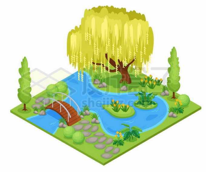 2.5D风格公园里的池塘小河小桥和垂柳树4344882矢量图片免抠素材免费下载