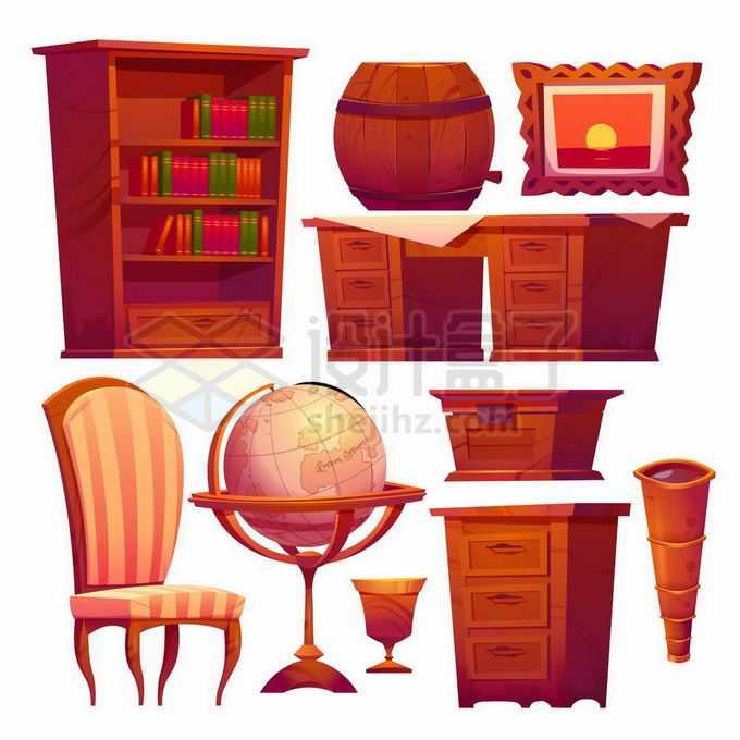 书架办公桌椅子地球仪柜子等复古卡通红木家具9879826矢量图片素材免费下载