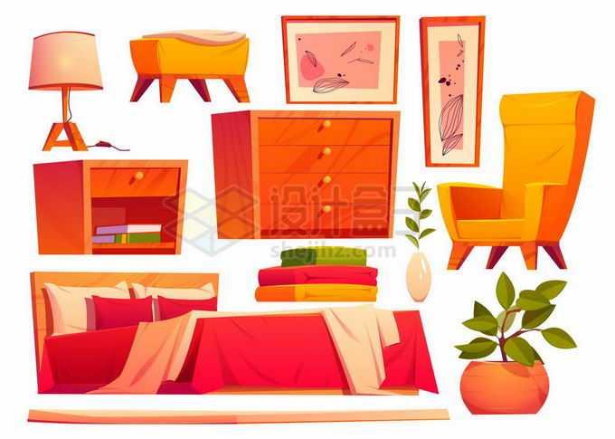 台灯柜子双人床大床书柜凳子椅子等复古卡通红木家具2946010矢量图片素材免费下载