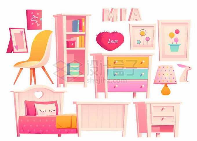 柜子单人床梳妆台书架等女孩子闺房粉色卡通家具7458564矢量图片素材免费下载