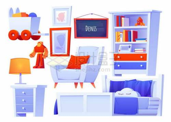 单人沙发单人床书架柜子台灯等男孩子卧室蓝色卡通家具6283906矢量图片素材免费下载