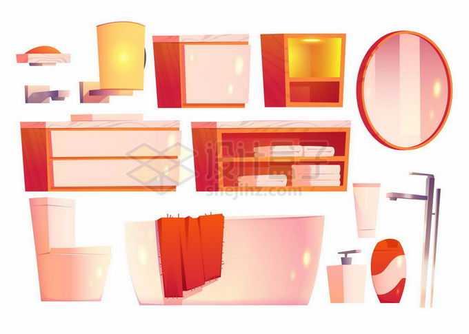 壁灯镜子柜子储物柜抽水马桶浴缸等卡通浴室用品5000164矢量图片素材免费下载