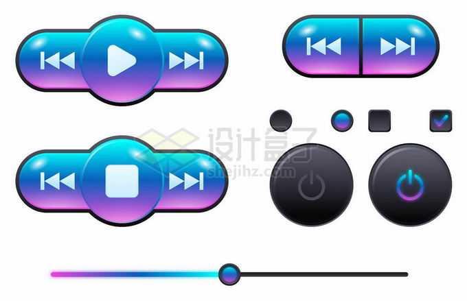 蓝色紫色渐变色风格音乐播放器按钮设计3962074矢量图片素材免费下载