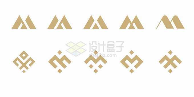 10款金色大写字母M标志logo设计方案赏析4503537矢量图片素材免费下载