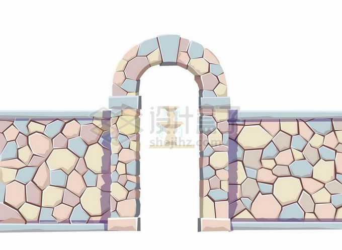 彩色石块砌成的石头墙围墙和拱门3800384矢量图片素材免费下载