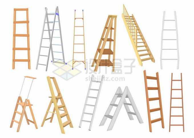 各种各样的木头梯子不锈钢梯子折叠人字梯8361820矢量图片素材免费下载