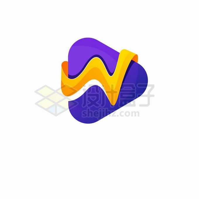 橙色紫色的播放器按钮logo设计方案2417914矢量图片素材免费下载