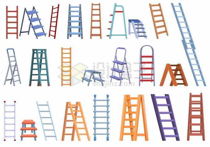 各种各样的木头梯子折叠人字梯1404807矢量图片素材免费下载