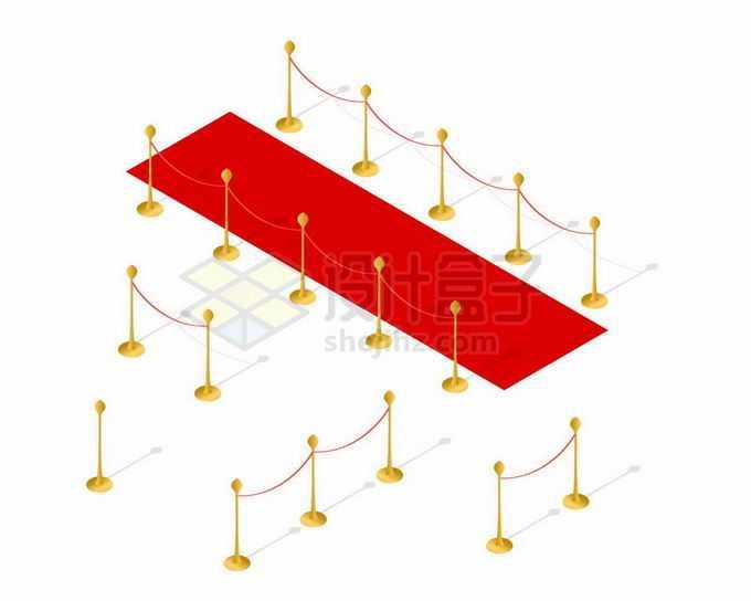 2.5D风格红地毯和迎宾杆红色的挂绳4746204矢量图片素材免费下载