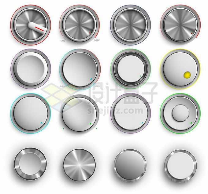 16款金属质感的圆形按钮旋钮8957526矢量图片素材免费下载