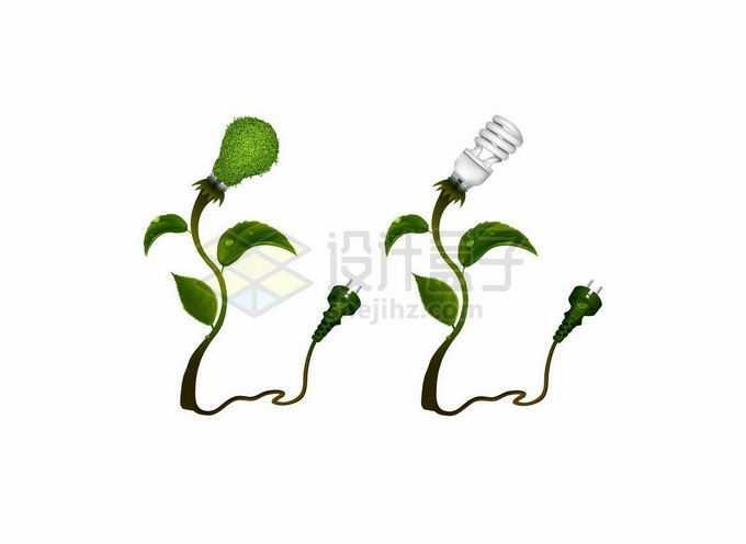 2款绿色树叶树枝和灯泡象征了清洁能源绿色电能2918980矢量图片素材免费下载