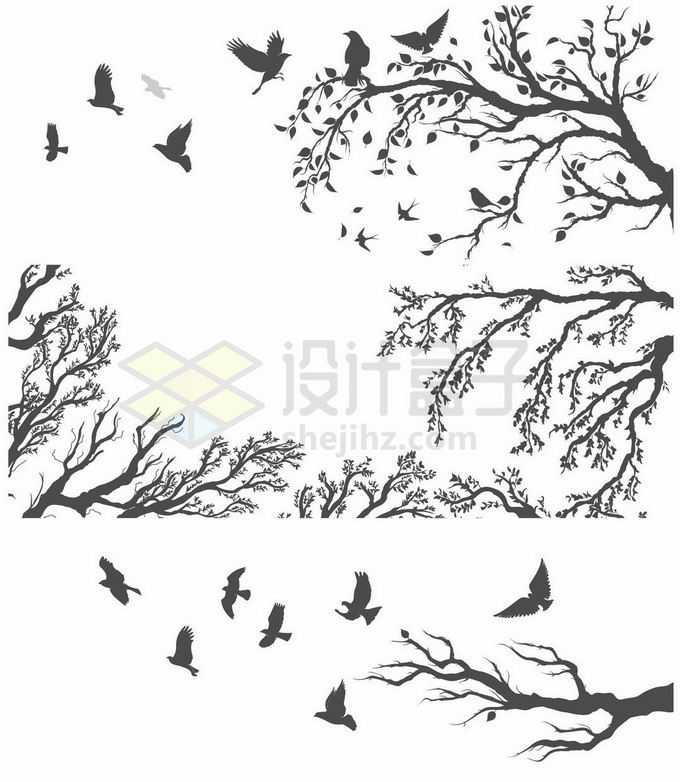 各种树枝树干和乌鸦飞鸟剪影9415894矢量图片素材免费下载