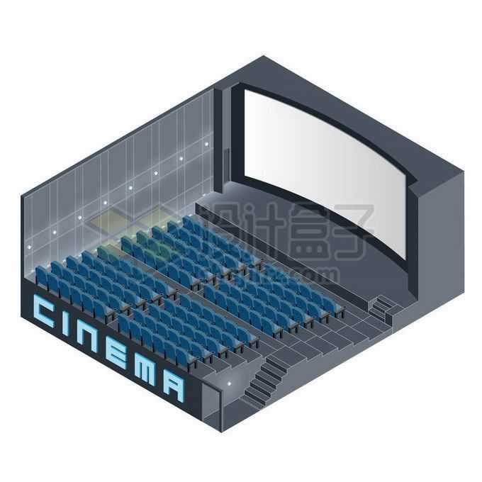 2.5D风格黑色的电影院大屏幕和座椅3765415矢量图片素材免费下载