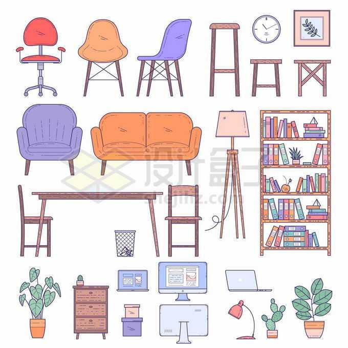 卡通转椅高脚凳沙发餐桌书架柜子电脑等手绘家具插画8950558矢量图片素材免费下载