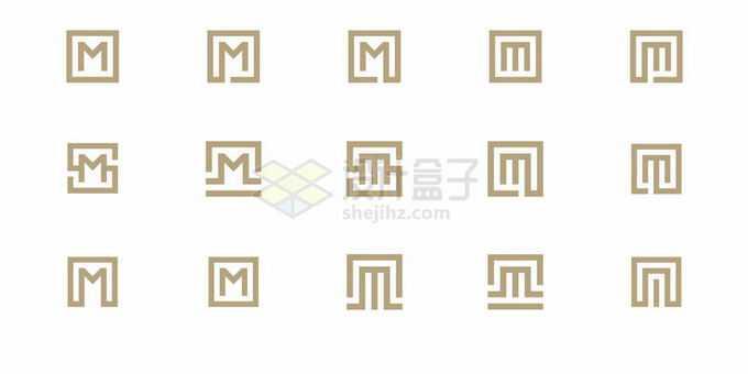 15款方正的大写字母M标志logo设计方案7887827矢量图片素材免费下载
