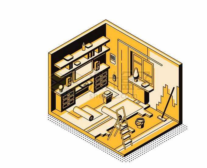 2.5D风格房屋装修贴墙纸铺设地板施工现场插画1040922矢量图片素材免费下载