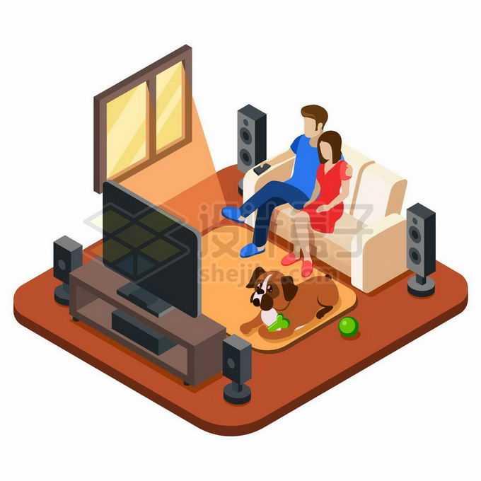2.5D风格坐在客厅沙发上看电视的夫妻8162978矢量图片素材免费下载