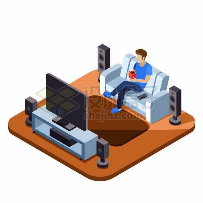 2.5D风格坐在客厅沙发上看电视的男人6495466矢量图片素材免费下载