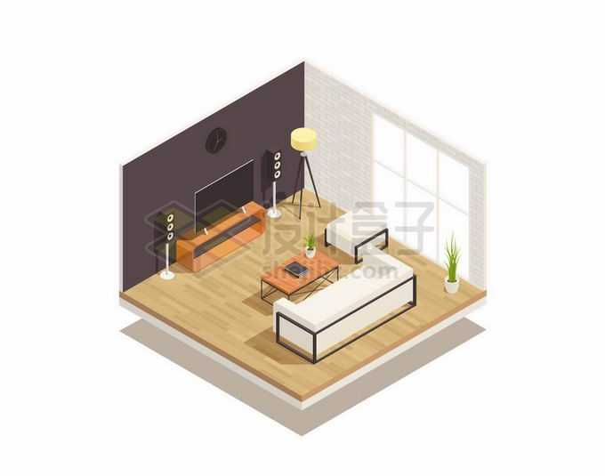 2.5D风格电视机沙发茶几等客厅装修8075651矢量图片素材免费下载