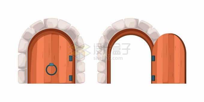 游戏中的卡通大门拱门打开和关闭状态9307892矢量图片素材免费下载