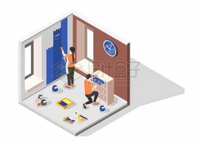2.5D风格正在装修的房间贴墙纸和整理物品3094094矢量图片素材免费下载