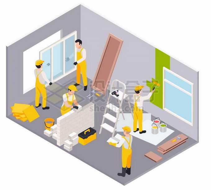 2.5D风格装修工人正在房间中刷乳胶漆砌墙和安装窗户3345642矢量图片素材免费下载
