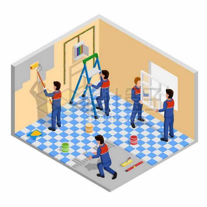 2.5D风格正在房间中刷乳胶漆装窗户和贴地面砖的装修工人2585914矢量图片素材免费下载