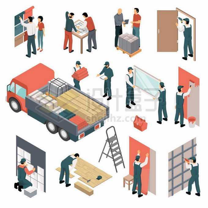 2.5D风格选择墙纸装修图纸装门装修材料刷乳胶漆贴木地板等2513974矢量图片素材免费下载