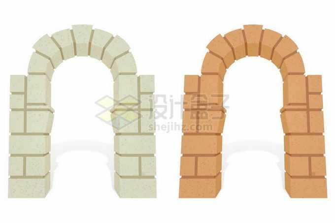 2款石头和砖头材质拱门卡通游戏建筑7496107矢量图片素材免费下载